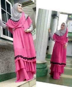 READY ~ A'ishah Hijab @125rb Matt,Spdx JERSEY SUTRA PREMIUM tebal (High Quality) Maxi Tingkat Grey kombi pink+Brukat Keliling+Pashmina Kombinasi 2wrn ORI By AV